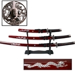 Dragon Samurai Katana 3 PC Sword Set Burgundy