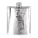 Embossed Piper Pewter Flask 6 Ounces