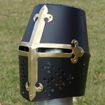 Black Great Helm with Brass Fleur de Lis 25-BIS3006