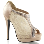 Champagne Satin Lace Peep Toe Bootie