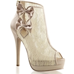 Champagne Platform Peep Toe Ankle Boots
