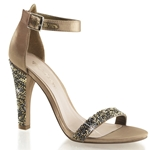 Bronze Satin Closed Back Ankle Strap Sandals