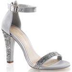 Silver Satin Closed Back Ankle Strap Sandals