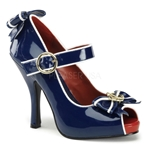 Open Toe Mary Jane With Anchor Bow