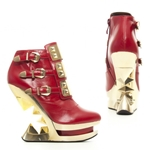 Golden Iceberg Wedge Ankle Boots In Red
