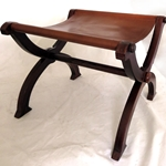 Folding Medieval Stool - Wood with Leather Seat