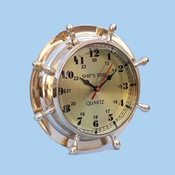 "Brass Double Dial Porthole Wheel Clock 8"" 143-WC-1451"