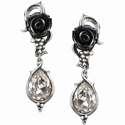 Bacchanal Rose Earrings Pewter Alchemy E347