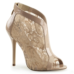 Nude Lace Stiletto Heel Ankle Boots