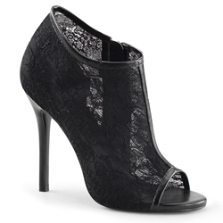 Open Toe Lace Ankle Boots In Black