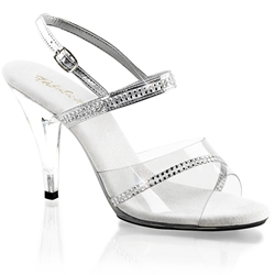 Clear And Silver Rhinestone Slingback Sandals