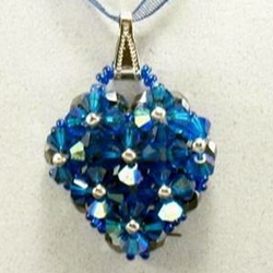 Blue Swarvoski Crystal Pendent Necklace 37-4088