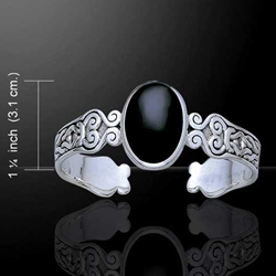 Celtic Knotwork with Black Onyx Silver Bracelet 52-TBG278